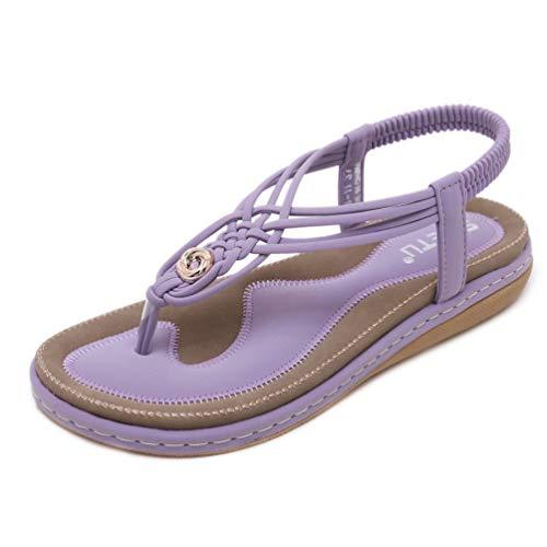 レディースサンダル トングサンダル 大きいサイズ[26cm]  ボヘミアン風 ビーチサンダル 編み上げ 美脚 脚長 厚底フラット ローヒール 歩きやすい 柔らかい 滑り止め カジュアル アウトドア ゴムストラップ フィットサンダル ブルー 黒色 紫色