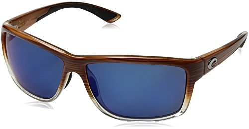 Costa del Mar Men's Mag Bay Polarized Iridium Rectangular Sunglasses, Wood Fade, 63.2 - Angler Sunglasses Costa
