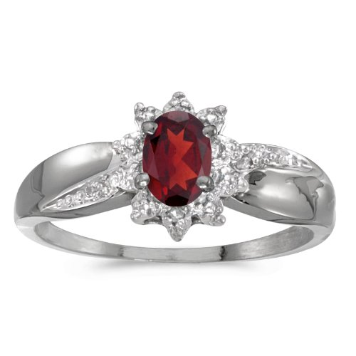 0.48 Carat ctw 10k Gold Oval Red Garnet Solitaire & Halo Diamond Fashion Swirl Cocktail Ring - White-gold, Size 12 ()
