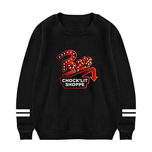 KssKsa Men's Pop's Chock'lit Shoppe Crewneck Sweatshirt Athletic Sweater Cotton Pullover Black ()
