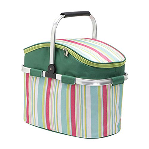 AILELAN Picnic Basket, 26L Large Size Insulated Picnic Basket - BBQ Meat Drinks Cooler Bag - Folding Collapsible Cooler Basket for Family Vacations Parties Outdoor Travel, Keep Food Cold Storage ()
