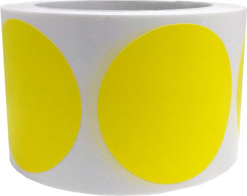 "3"" Inch Round Hot Yellow Color Coding Dot Labels - 500 Colored Circle Inventory Stickers Per Roll"