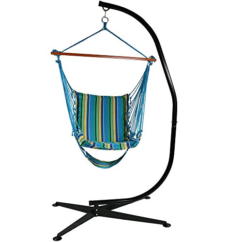 dded Soft Cushioned Hammock Chair with Footrest and C-Stand, 26 Inch Wide Seat, Max Weight: 300 Pounds, Ocean Breeze ()