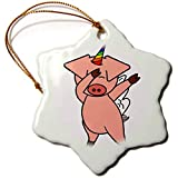 3dRose AllSouthernDesignTees - Mythical Creatures - Funky creative dabbing dance flying unicorn pig art - 3 inch Snowflake Porcelain Ornament (orn_290633_1)