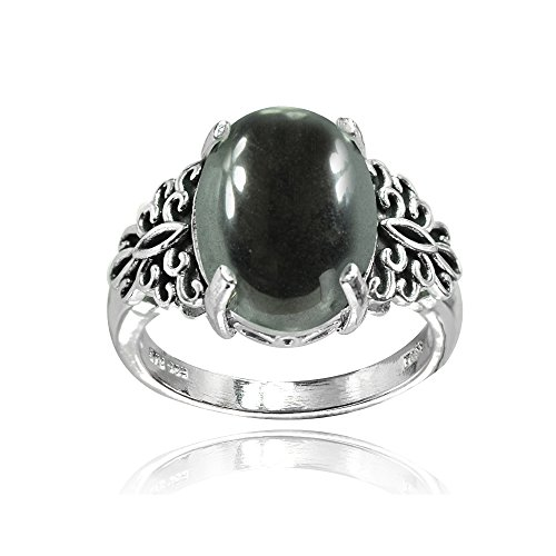 Sterling Silver Simulated Hematite Oxidized Bali Inspired Filigree Oval Ring, Size 7