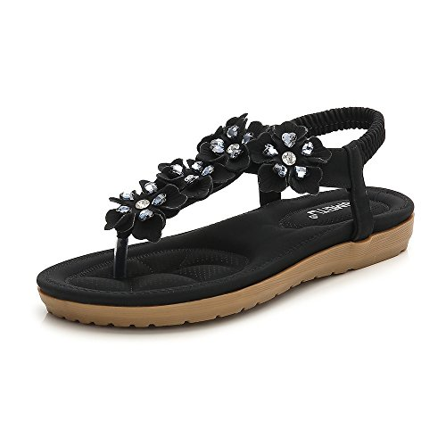 (Wollanlily Women Bohemian Thong Sandal T-Strap Elastic Back Beach Flip Flops Sandals Black-03 US 9 )