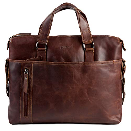 BACCINI real leather laptop bag LEANDRO large business office work school shoulder bag 15 inch satchel briefcase 15.6