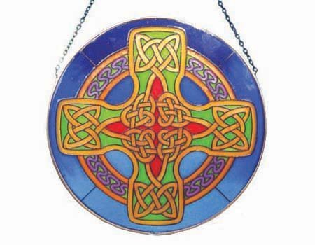 - Round Stained Glass Hanging 16cm Panel With Blue Celtic Cross Design