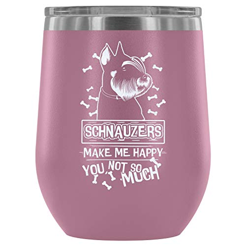 Stainless Steel Tumbler Cup with Lids for Wine, Schnauzers Make Me Happy Wine Tumbler, I Love My Schnauzers Vacuum Insulated Wine Tumbler (Wine Tumbler 12Oz - Light Purple)