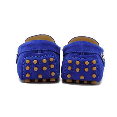 Minishion Girls Womens Casual Comfortable Suede Leather Driving Moccasins Loafers Boat Shoes Flats Royal Blue yZZSRy