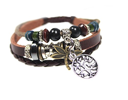 Dragonfly and Tree of Life Three Strand Beaded Leather Zen Bracelet in (Beaded Dragonfly)