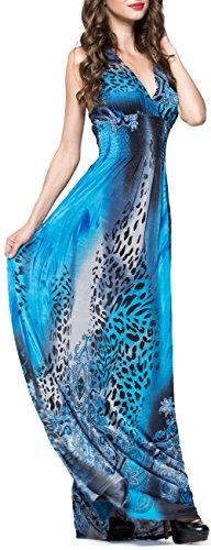 Party Abend Sommer Bohemien Damen Cocktail kleid Blau Ärmellos Langes Hochzeit Gedruckt V Übergröße Strand Mochoose Ausschnitt Maxi nzXEf8x8