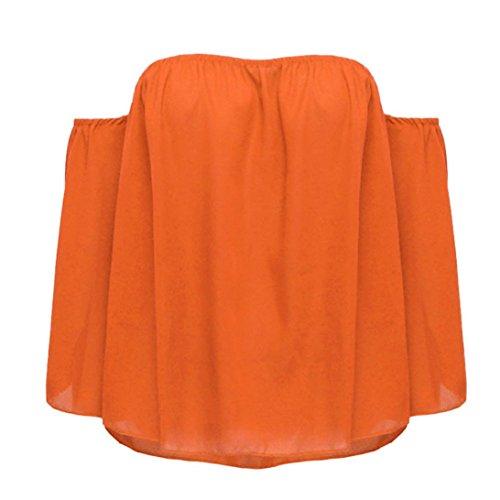 Lungo Donne Oyedens Mode Camicetta Camicetta Tops Shirt Allentata Unita T Arancia A Del Casuale Spalle Tinta dAXXFqw