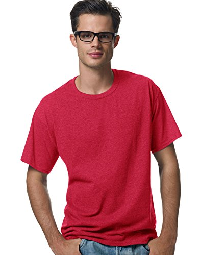 - Hanes® Heavyweight 50/50 - 50/50 Cotton/Poly T-Shirt, Youth LARGE (14-16), Deep Red