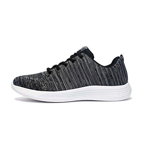 Maniamixx Herren Leichte Knit Sneakers Sportschuhe Trainer für Gym Lauf Casual Walking Grau