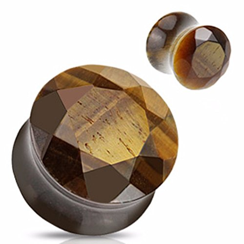 - Tiger's Eye Precious Stone Faceted Gem Double Flared Freedom Fashion Plug (Sold by Pair)