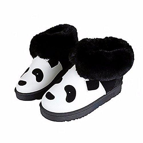 Zhudj black Doublure Office us6 Bottes Chaussures Carrière eu36 uk4 Mode Confort Bout Automne Hiver cn36 Bootie Boots Pour Peluches amp; Femmes Des Nouveauté Rond rXravHR