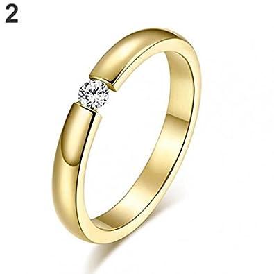 Anillos de acero de titanio para mujer con incrustaciones de diamante de imitación para boda, talla de los Estados Unidos 6 a 12 Amesii: Amazon.es: Joyería