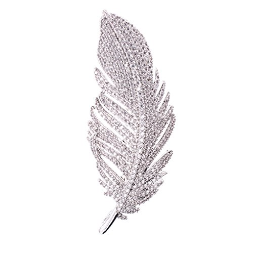 - SEPBRIDALS Feather Dress Brooch Pin Broach Necklace Pendant CZ Rhinestone Crystal Jewelry