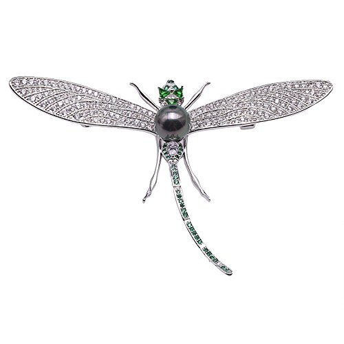 (JYX Pearl Dragonfly Brooch AAA+ Quality 9.5mm Peacock-Green Tahitian Cultured Pearl Brooch)