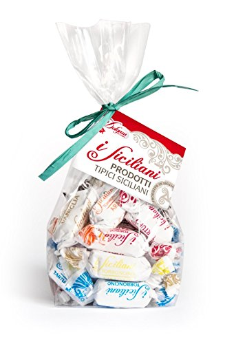 I Siciliani 35.3oz (1Kg.) Soft Almond Torrone Nougat Covered in variety flavors of chocolate bite size Individually wrapped Assorted Mix approx.80 pcs.NO PRESERVATIVES & Gluten Free