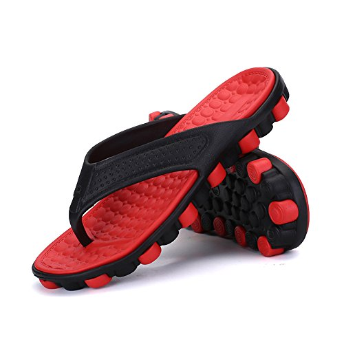 MeiPing Men's Rubber Sandal Slipper Comfortable Shower Beach Slip on Flip Flop Shoe Red XVjVMr3YxQ