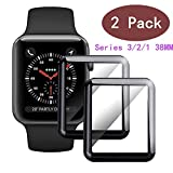 LuettBiden Compatible [2 - Pack] Apple Watch 38mm Tempered Glass Screen Protector, LuettBiden Anti-Scratch Full Coverage Scratch-Proof Screen Film Compatible 38mm Series 1/2/3(Black)