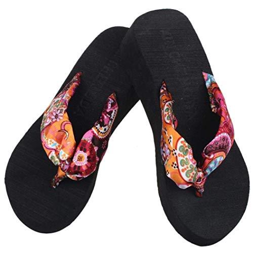 Tongs Noir Dames L' Beach Boho Plateforme Compensée Casual Holiday Fuxitoggo Thong Femmes Noir Liquidation Chaussures D 'été Pour Imprimées 36 Sandales Été wzUR7qI