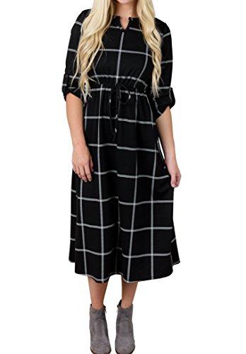 Plaid Empire Dress (Runcati Womens Dresses Long Sleeve Swing Casual Plaid Empire Waist Midi Tshirt Dress)