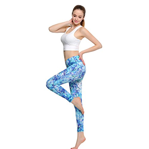 TRYSIL Women's Yoga Pants Leggings Printed Middle Waist Tights Tummy Control Fitness with Hidden Pocket for Running and Workout