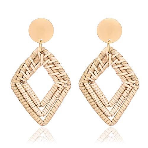 Rattan Earrings for Women Handmade Straw Wicker Braid Drop Dangle Earrings Lightweight Geometric Dangle Statement Earrings (Diamond)