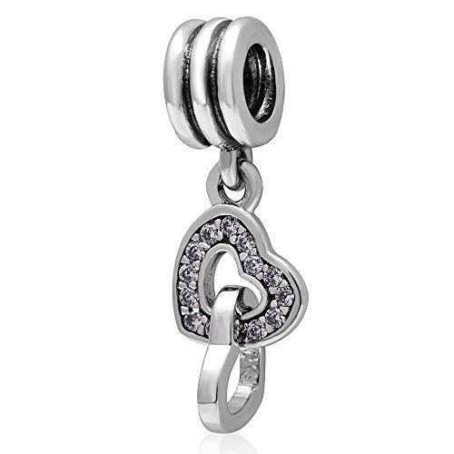 Authentic 925 Sterling Silver Dangle Interlocking Love Charm for Charms Bracelet (Heart) by CharmsJewelry