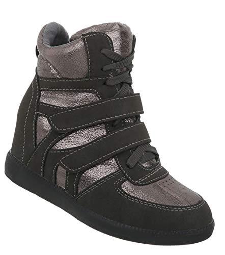 Trainer Grau Sportschuhe Laufschuhe Runner Schuhe Damen Turnschuhe Sneakers Freizeitschuhe 41 Silber 36 wqHa0nF