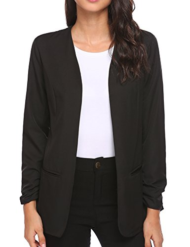 Collarless 3/4 Sleeve (Unibelle Womens Casual Work Office Boyfriend Open Front Blazer Jacket,Black,X-Large)