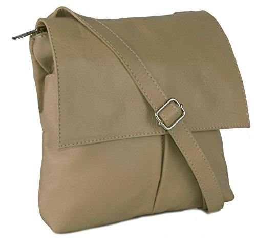 Big Handbag Shop - Bolso al hombro de cuero para hombre One Oscuro Beige