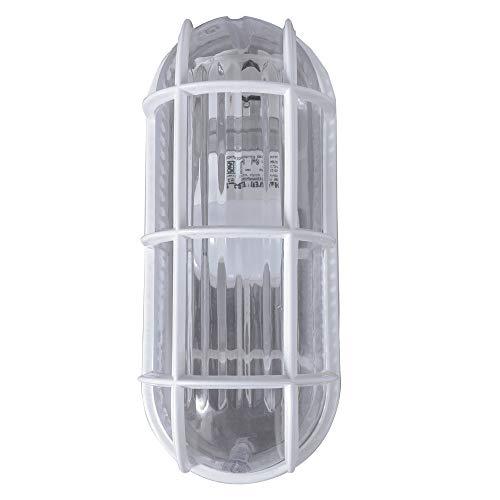 Roshni & Light PVC 18 Deluxe 60W Bulkhead Wall Light Fitting, Silver, Rectangular