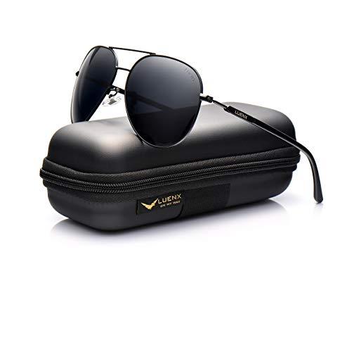 LUENX Aviator Sunglasses Mens Women Polarized Black Lens Black Metal Frame Dark 60mm with Case - UV400
