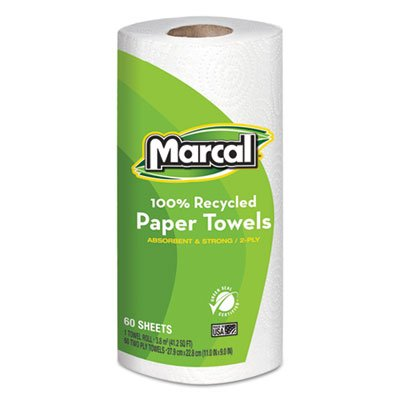 Marcal Paper Towels 100% Recycled 2-Ply, 60 Sheets Per Roll - Case of 15 Individually Wrapped Green Seal Certified...