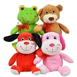 Bundle: Plush Valentine Animals Four (4) animals: Pink Kitty, Brown Bear, Red Dog, and Green Frog