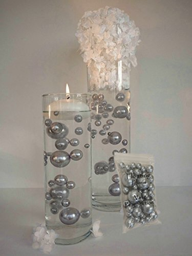 All Silver Pearls - Unique Jumbo & Assorted Sizes Vase Fillers for Centerpieces - To Float the Pearls- Order the Transparent Water (Floral Gel Candle)
