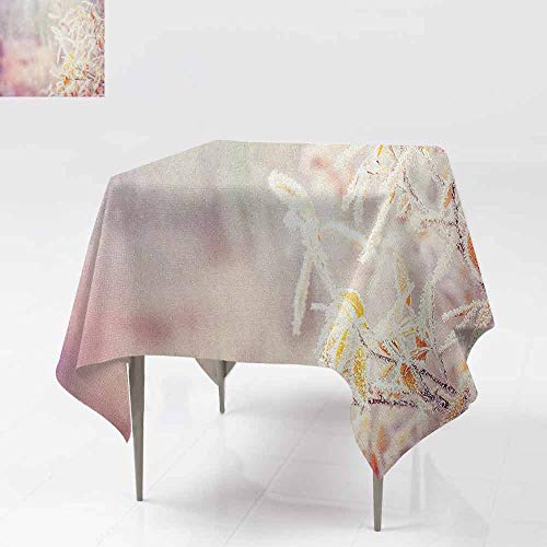 DUCKIL Washable Table Cloth Snow Branches Tree Leaves Snowflakes Holiday Christmas Theme November Nature Party W36 xL36 Orange Pink White -