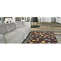 Maxy Home Hamam Floral Brown 18 x 31 Rubber Backed Door Mat