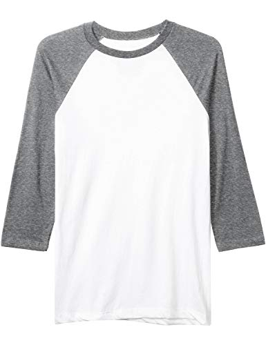 Hat and Beyond Mens Baseball Raglan 3/4 Sleeve Plain Casual Tee Basic Active T Shirts (2X-Large, 83_White/Heather Gray) -