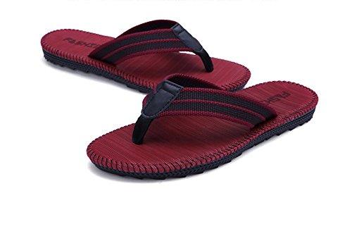 42eu Zapatillas Hombre Tamaño Chancletas Casual British Lino Y Wear Fashion Flare Yunguang Verano Chanclas De Sandalias Plano Khaki Rojo color 6SUwq