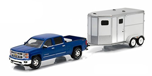 2015 Chevrolet Silverado Pickup Truck Blue and Unmarked Horse Trailer 1/64 by Greenlight 32050 B ()