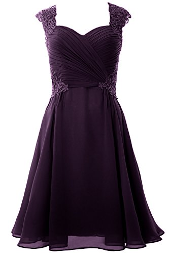 Dress Cocktail Short Gown Women Formal Plum Wedding Sleeve 2017 Cap MACloth Party wt7IZqRf