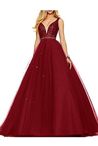 La V Zwei Abendkleider Lang mia Pfirsisch Braut Abschlussballkleider Weinrot Partykleider Ausschnitt Abiballkleider Traeger 4Xqw4rFn6
