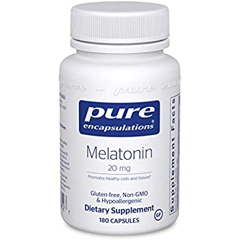 Pure Encapsulations - Melatonin 20 mg - Hypoallergenic Supplement Promotes Healthy Cells and Tissues* - 180 Capsules