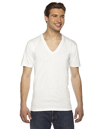 American Apparel Men's Fine Jersey Short Sleeve V-Neck - White - Large