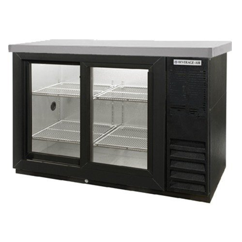 Beverage Air BB48GSY-1-B-27 Standard Depth Glass Sliding Door Back Bar Cooler in Black w/Stainless Steel Top